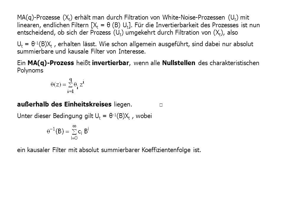 MA(q)-Prozesse (Xt) erhält man durch Filtration von White-Noise-Prozessen (Ut) mit linearen, endlichen Filtern [Xt = θ (B) Ut]. Für die Invertierbarkeit des Prozesses ist nun entscheidend, ob sich der Prozess (Ut) umgekehrt durch Filtration von (Xt), also